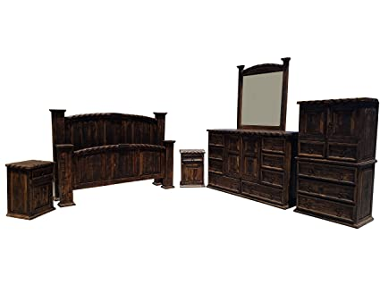 Dark Wax Rope Edge Western King Size Mansion Rustic Bedroom Set 6 Pcs  (King) (King Rough Cut Finish)