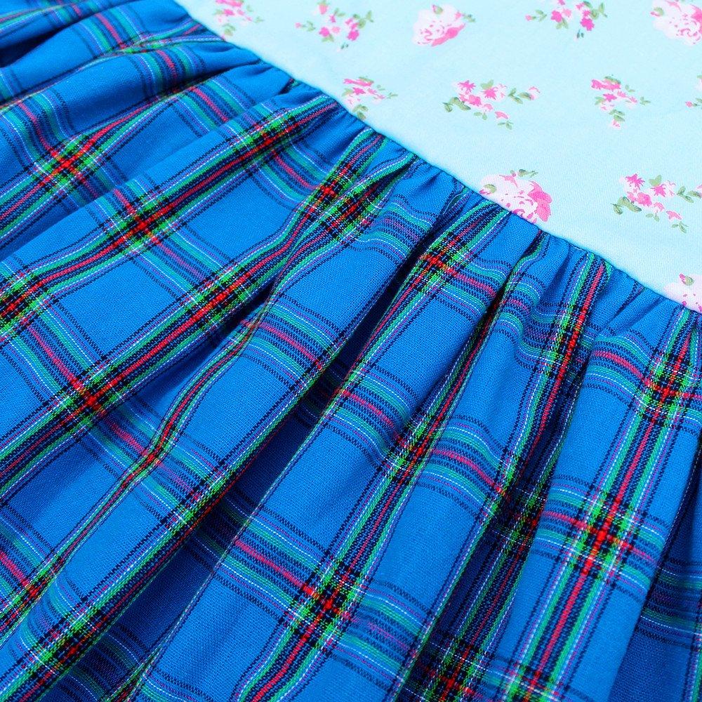 Kseniya Kids Girls Floral Dresses Petal Sleeve Lace Bow Applique Plaid Girl Party Dress