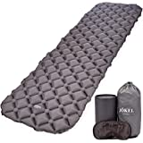 JÖKEL Sleeping Mat Ultralight Inflatable Camping Mattress, Comfortable Roll Mats, Grey Lightweight Compact Air Pad, Portable & Folding Inflating Single Bed, for Hiking Hammock Tent & Backpacking