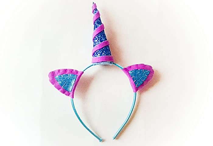 Amazon.com  Blue and purple glitter unicorn horn headband  Handmade 62271c44d65