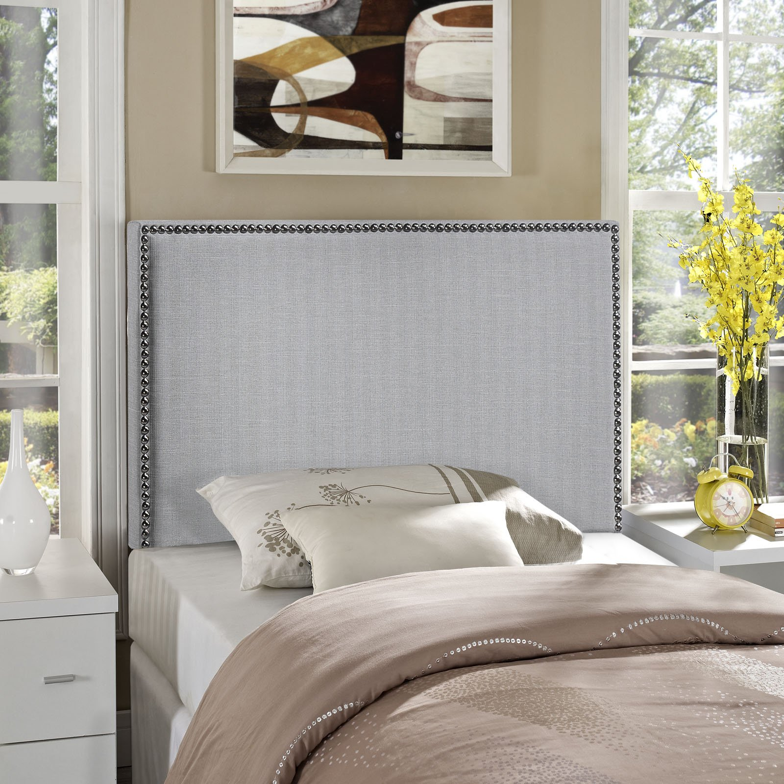Modway Region Linen Fabric Upholstered Twin Headboard in Gray with Nailhead Trim by Modway
