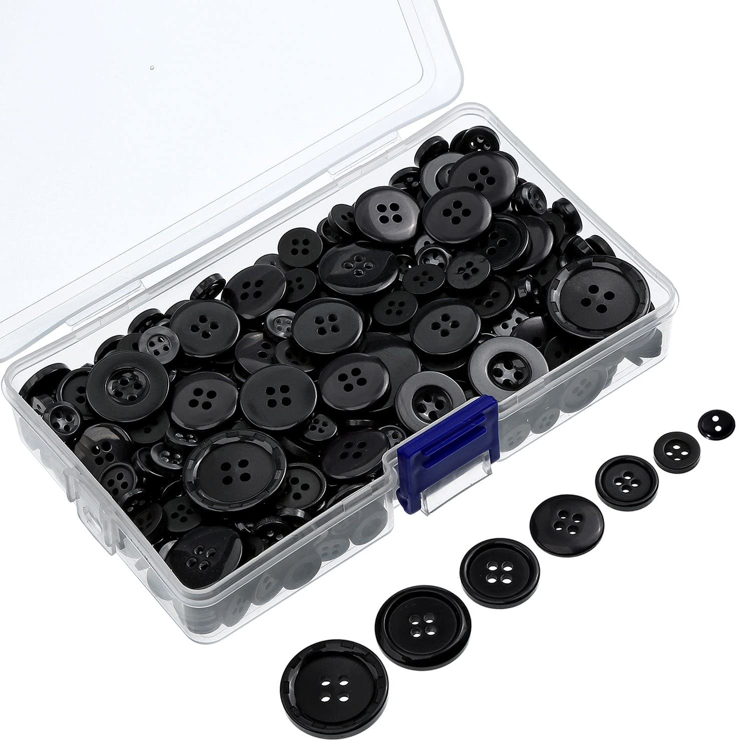 Bememo 400 Pieces Buttons Round Resin Button Sewing Craft Buttons with Storage Box for Valentine's Day, 2 and 4 Holes, Assorted Sizes (Black)