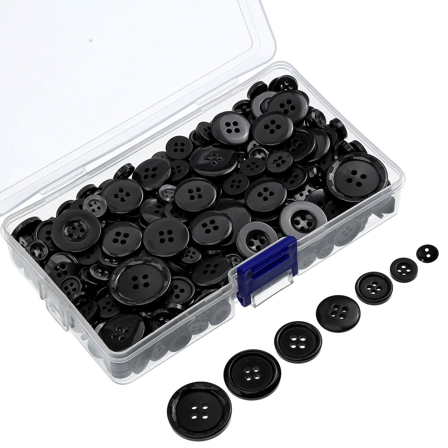 Bememo 130 g Black Buttons Round Resin Button Sewing Craft Buttons with Storage Box, 2 and 4 Holes, Assorted Sizes