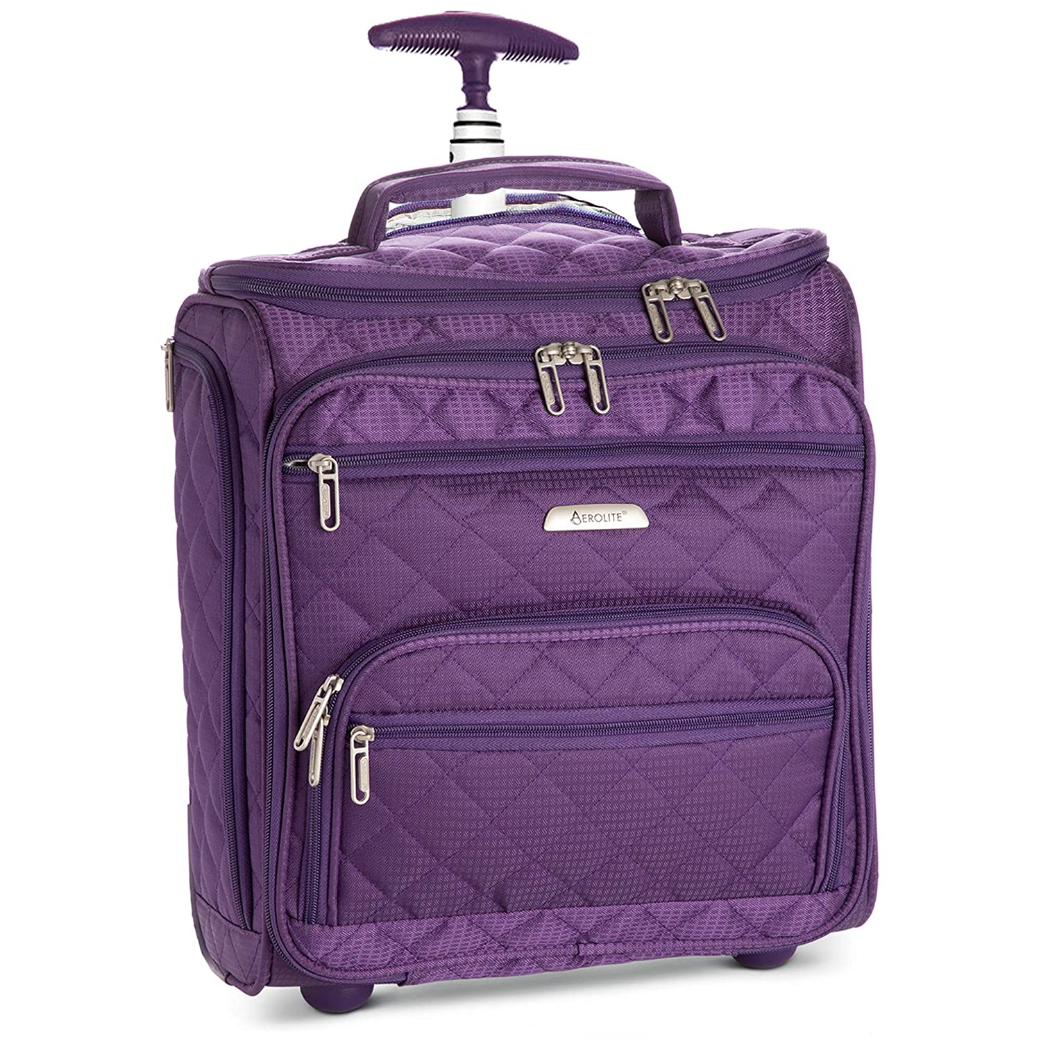 """16.5"""" Underseat Women Luggage Carry On Suitcase - Small Rolling Tote Bag with Wheels (Purple)"""