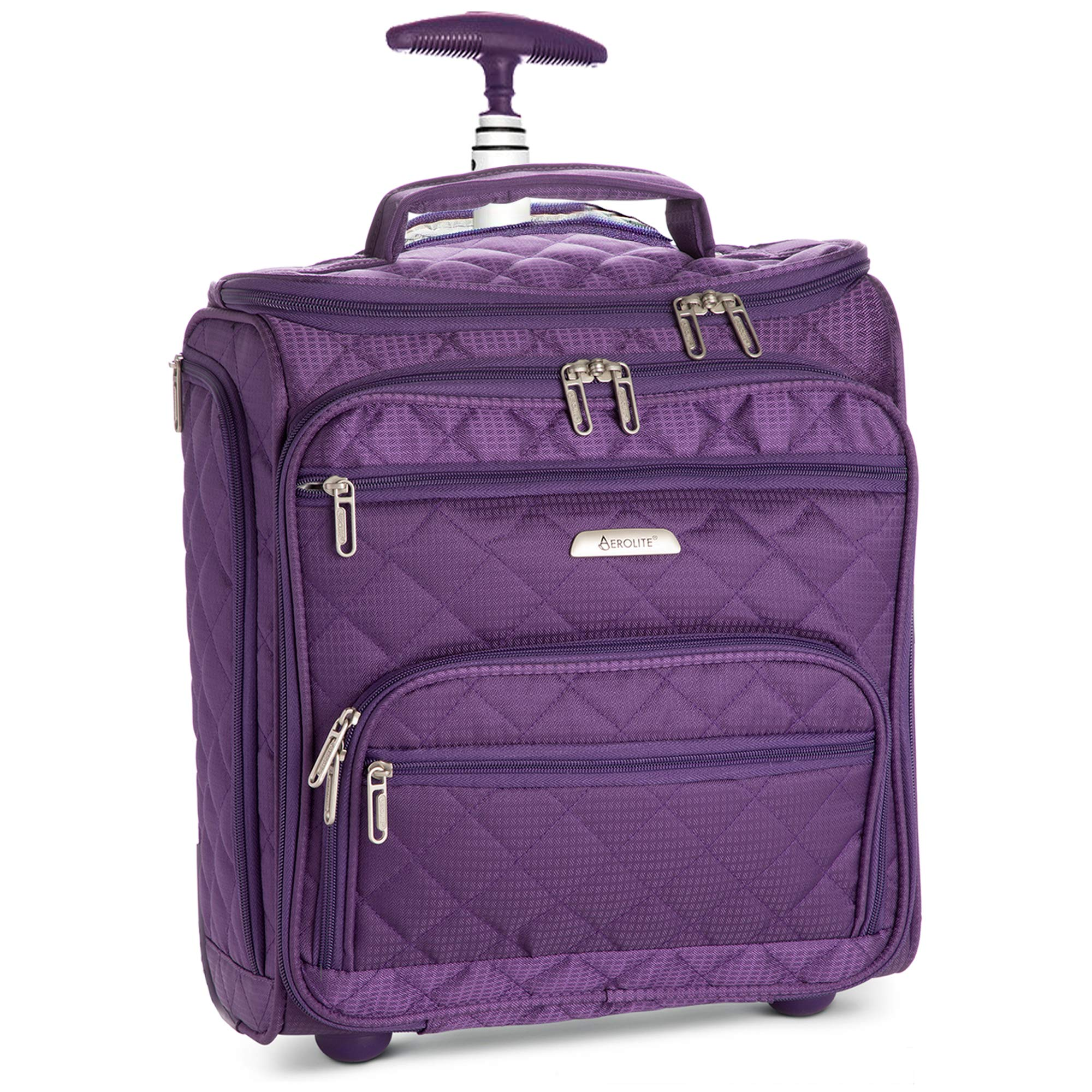 16.5'' Underseat Women Luggage Carry On Suitcase - Small Rolling Tote Bag with Wheels (Purple)