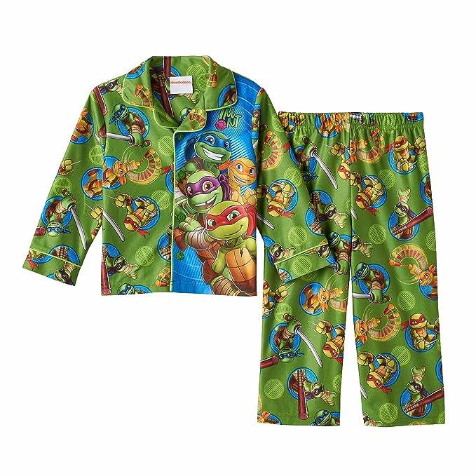 a50bd2eb5e Toddler Boy Teenage Mutant Ninja Turtles Button-Down Fleece Pajama Set (3T)