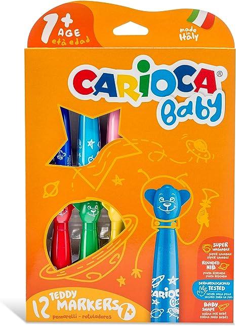 Carioca Baby Teddy Markers |42816 - Rotuladores con Punta Redondeada Superlavables (Niños Bebés 12 Meses), 12 Colores: Amazon.es: Juguetes y juegos