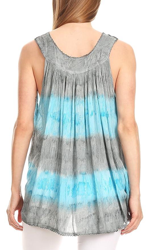 Sakkas 82531 Ocean Breeze Sleeveless Blouse - Charcoal - One Size:  Amazon.co.uk: Clothing