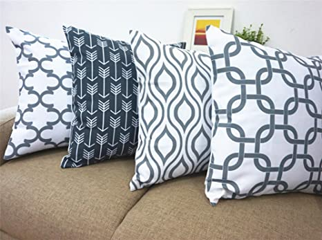 Howarmer Canvas Cotton Cushion Cover, Geometric Pattern, 18 x 18-Inch, Set of 4 Cushions & Cushion Covers at amazon