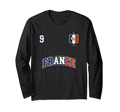 f2df92f57 Unisex France Soccer Team Long Sleeve Shirt Number 9 Sports Tee Small Black