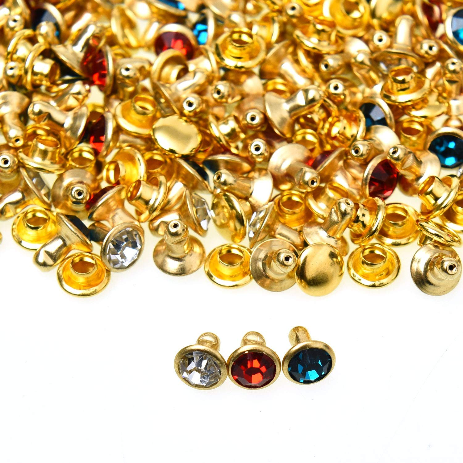 Monrocco 120 Sets Cz Colorful Crystal Rapid Rivets Double Cap for DIY Leathe