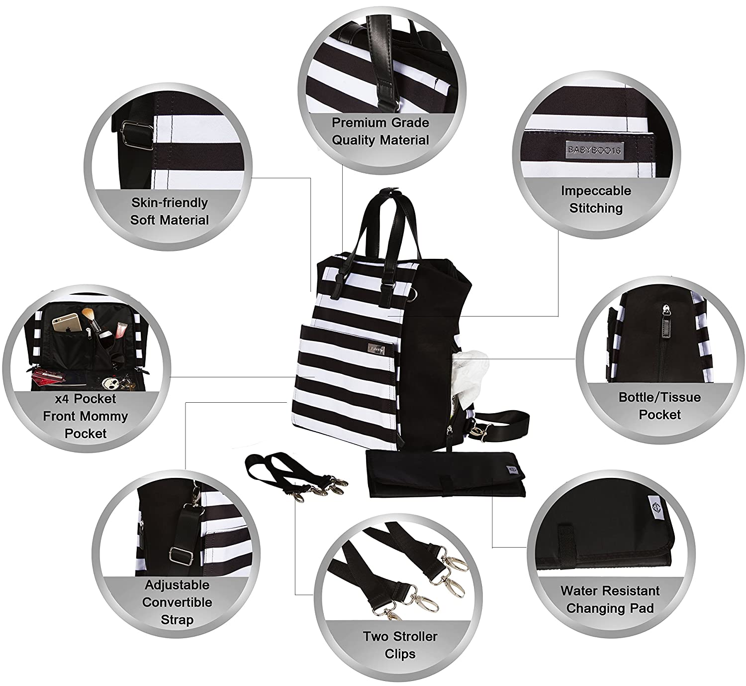 58ea0af23deb5 Amazon.com   Diaper Bag Backpack Convertible Baby Bag by Babyboo 16 - with Changing  Pad and Stroller Strap - Super Versatile and Classy - Black and White ...
