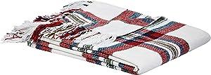 AmazonBasics Plaid Throw Blanket - 50 x 60 Inch, Red Cream
