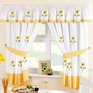 just contempo juego de cortinas para cocina diseo de girasol color amarillo