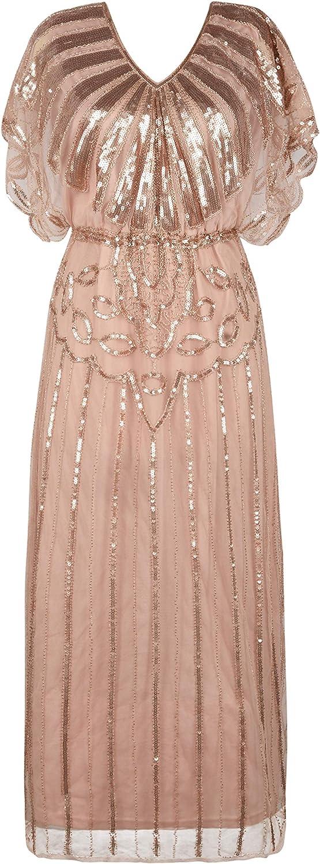 PrettyGuide Womens 1920s Flapper Dress Sequin Beaded Deco Angel Sleeve Maxi Formal Evening Dress