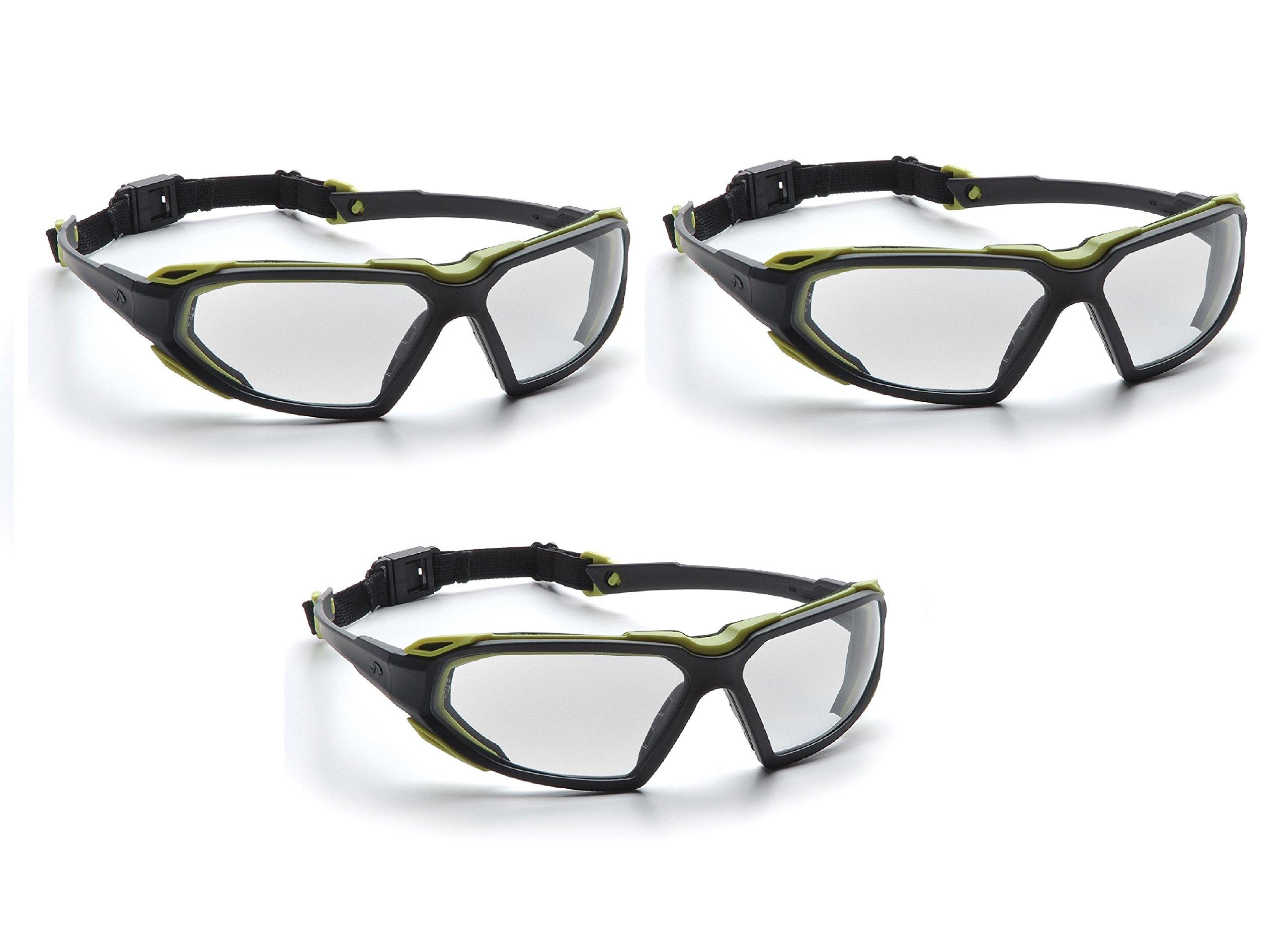 Highlander Pyramex Safety Eyewear (Black-Lime Frame/Clear Anti-Fog Lens) (3) by Highlander