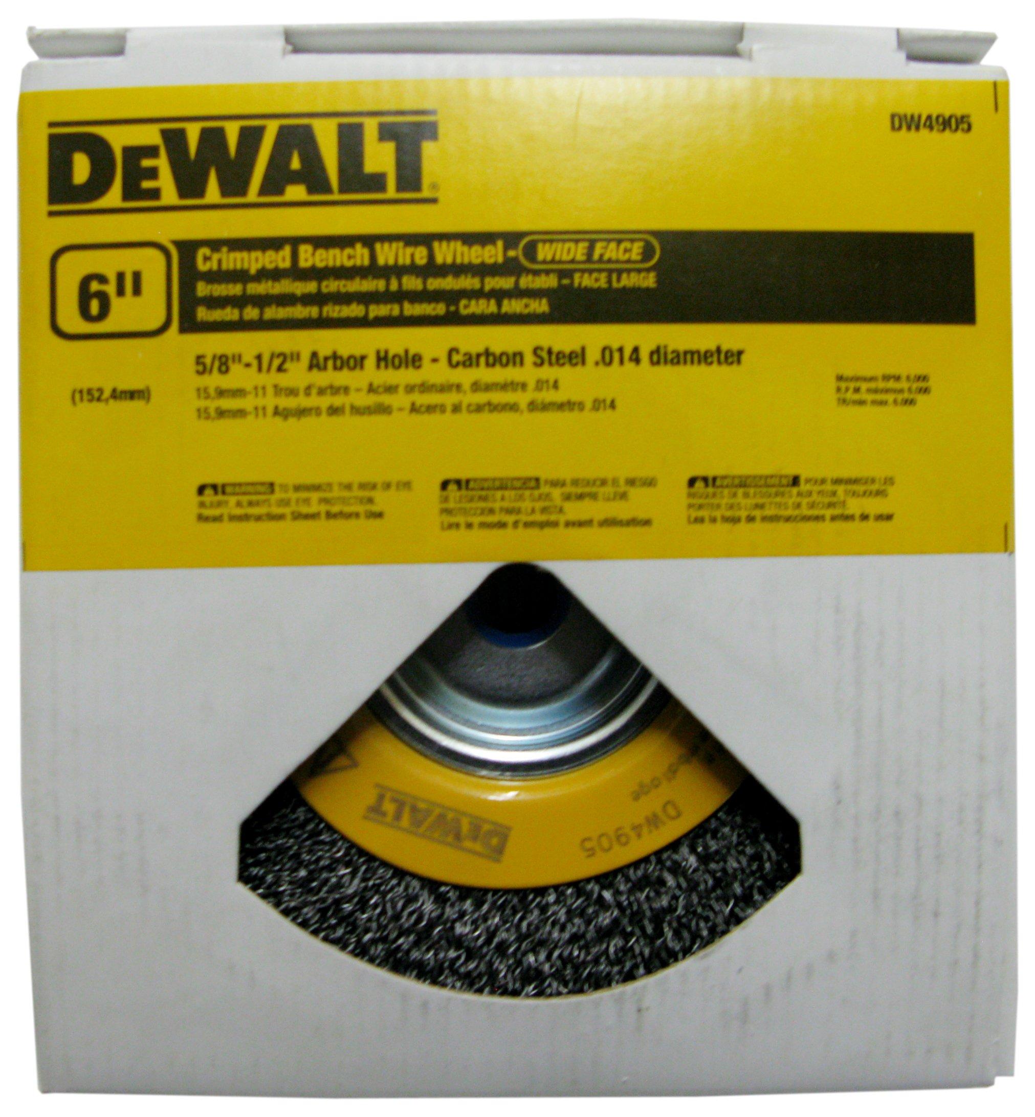 DEWALT DW4905 6-Inch Crimped Bench Wire Wheel, 5/8-Inch-1/2-Inch Arbor, Wide Face .014-Inch