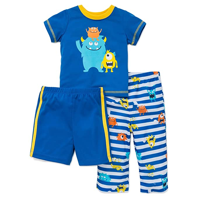 76a2a701a2 Little Me Boys Pajamas 3 Piece Sleepwear Monster Shirt Pants Shorts Blue 2T