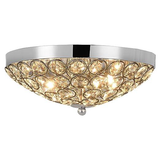 [lux.pro] luz de techo - Lámpara de techo colgante - Cristales de Arte centelleantes (3 x G9) - cromo Ø 30 cm