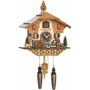 Trenkle Quartz Cuckoo Clock Black Forest House with Music, Moving Wanderer and Mill-Wheel