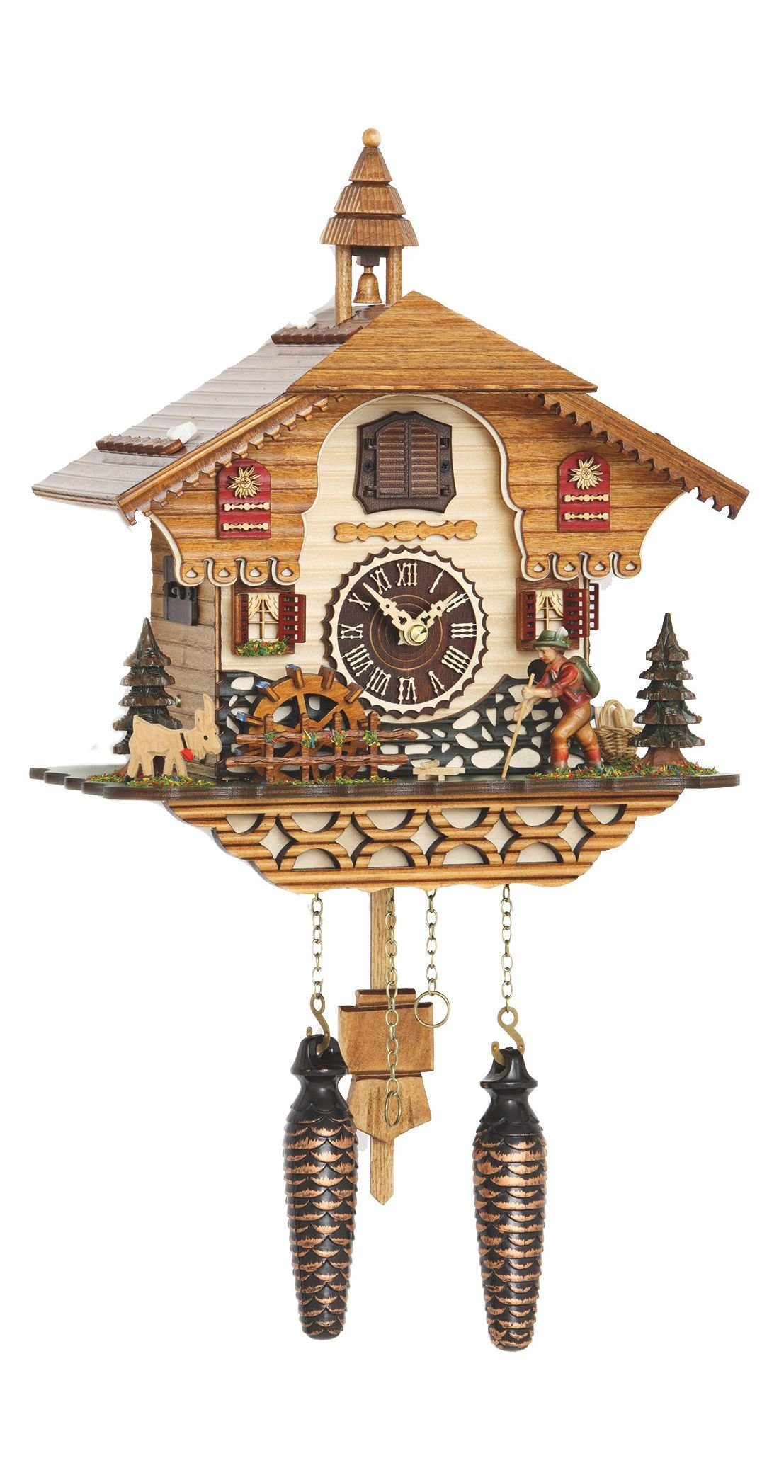 Quartz Cuckoo Clock Black forest house with music, moving wanderer and mill-wheel, incl. batteries TU 4216 QM by Trenkle Uhren