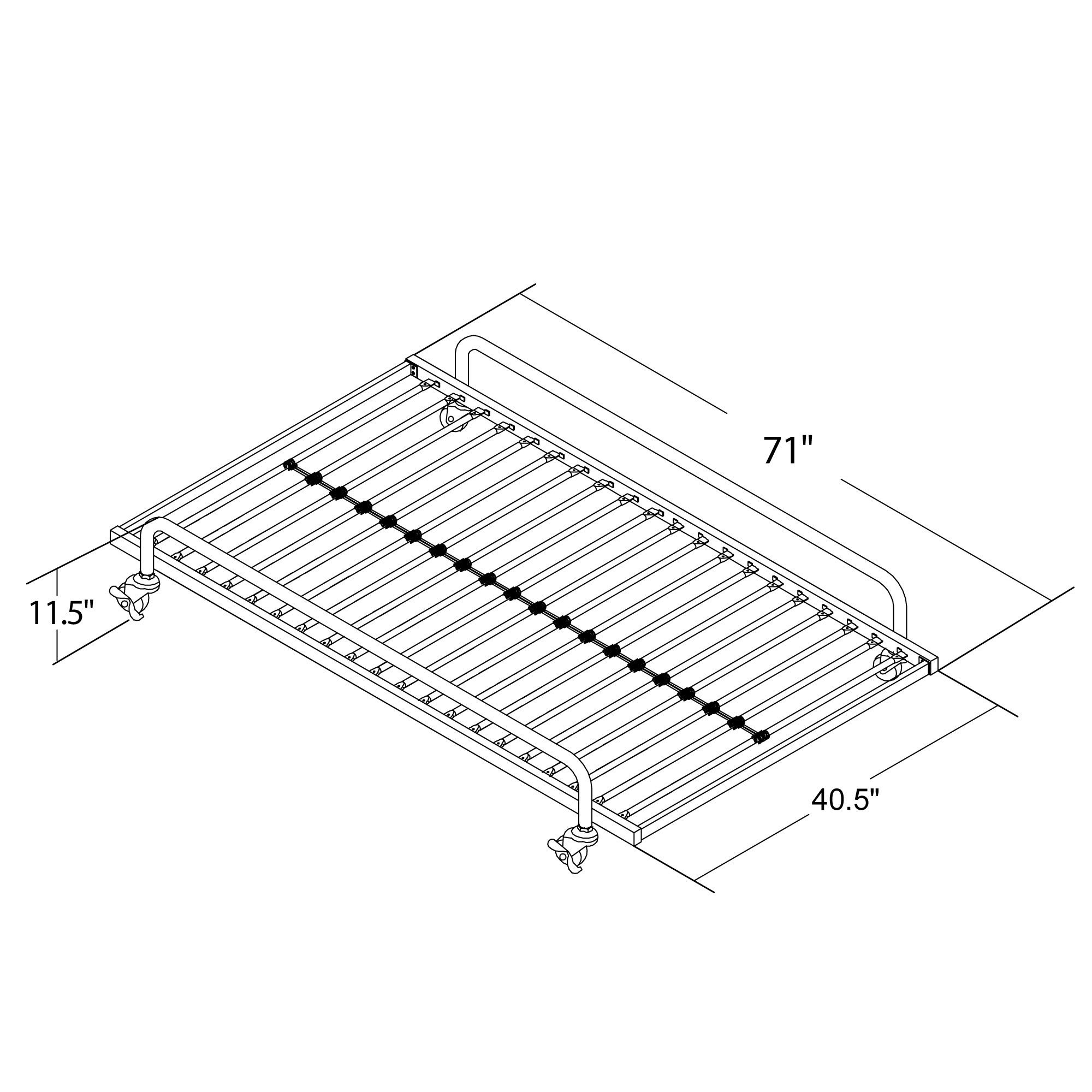 DHP Metal Trundle for Daybed Frame, Fits Twin Size, Black by DHP