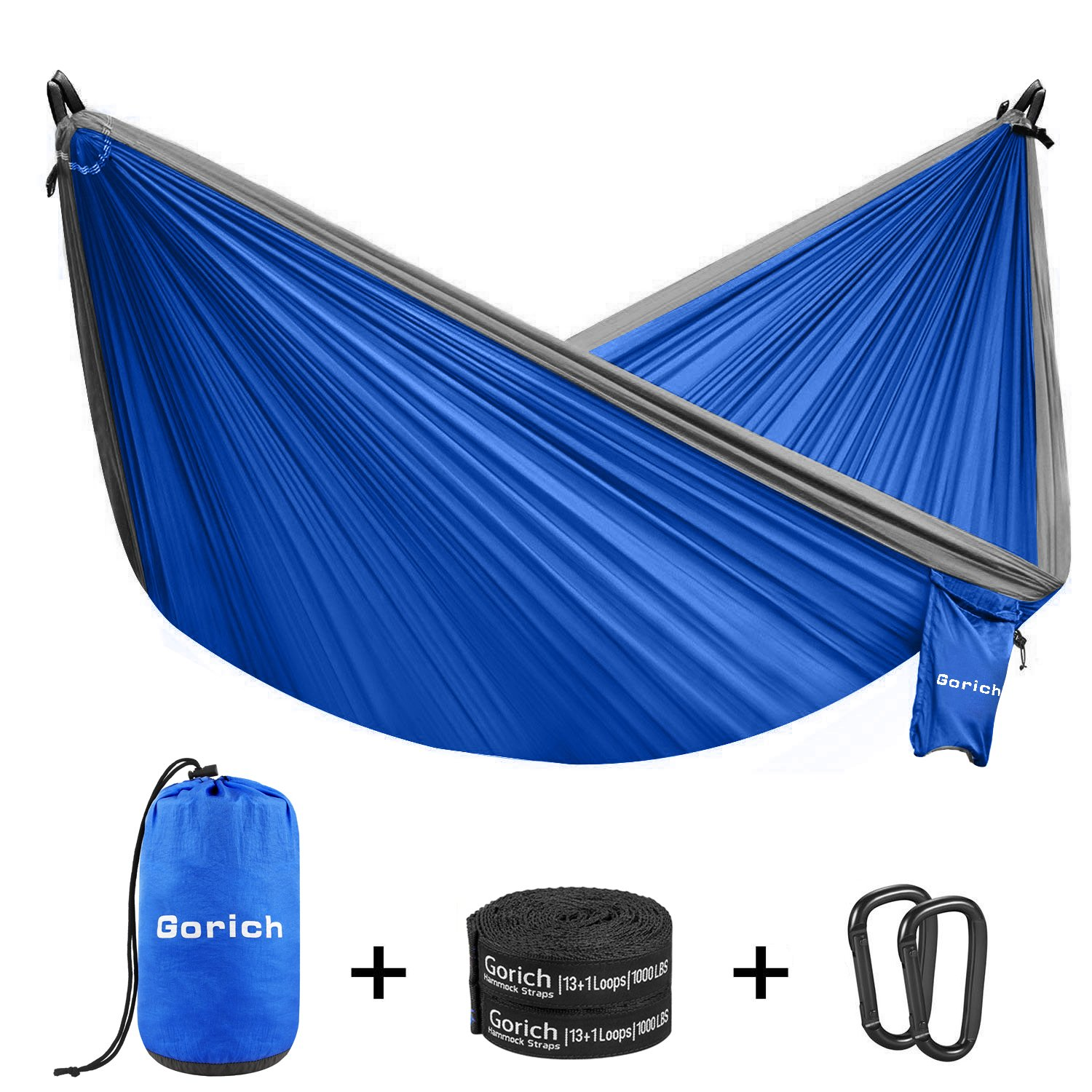 Gorich Double Parachute Camping Hammock,Lightweight Portable Hammock with Tree Straps & Steel Carabiners,Great 2 Person Hammock for Backpacking, Camping, Hiking, Travel, Beach, Yard. by Gorich