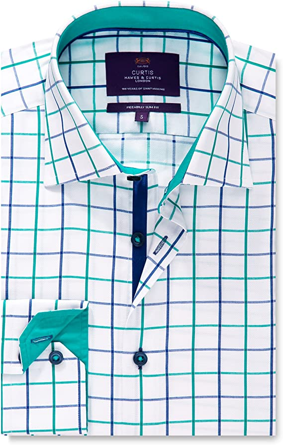 Hawes & Curtis - Camisa Casual - Cuadros - Cuello Italiano ...
