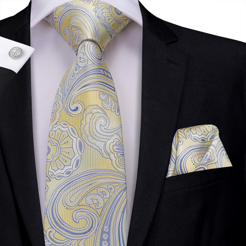 Juego de gemelos y corbata de bolsillo para hombre Hi-Tie dise/ño de cachemira