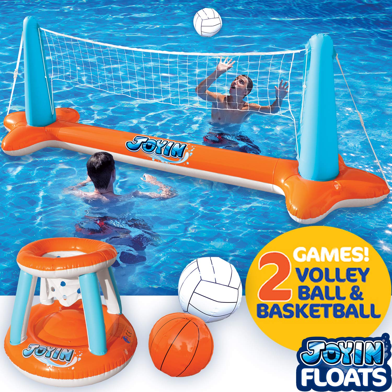 Inflatable Pool Float Set Volleyball Net & Basketball Hoops; Balls Included for Kids and Adults Swimming Game Toy, Floating, Summer Floaties, Volleyball Court (105''x28''x35'')|Basketball (27''x23''x27''). by JOYIN