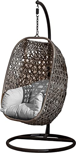 Brampton Luxury Rattan Wicker Outdoor Hanging Cocoon Egg Swing Chair with Grey Cushions