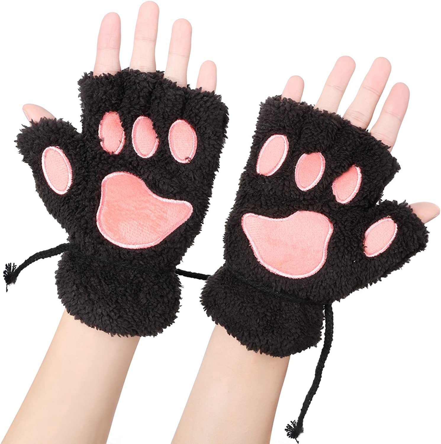 Womens Fluffy Soft Winter Gloves Bear Tiger Leopard Claw Paw Novelty Mittens
