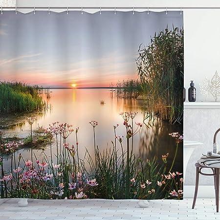 ABAKUHAUS Natura Tenda da Doccia Tramonto al Lago Chudskoy Estonia Panorama Primaverile Fiori Celeste 175 x 200 cm Stampa Digitale su Tessuto