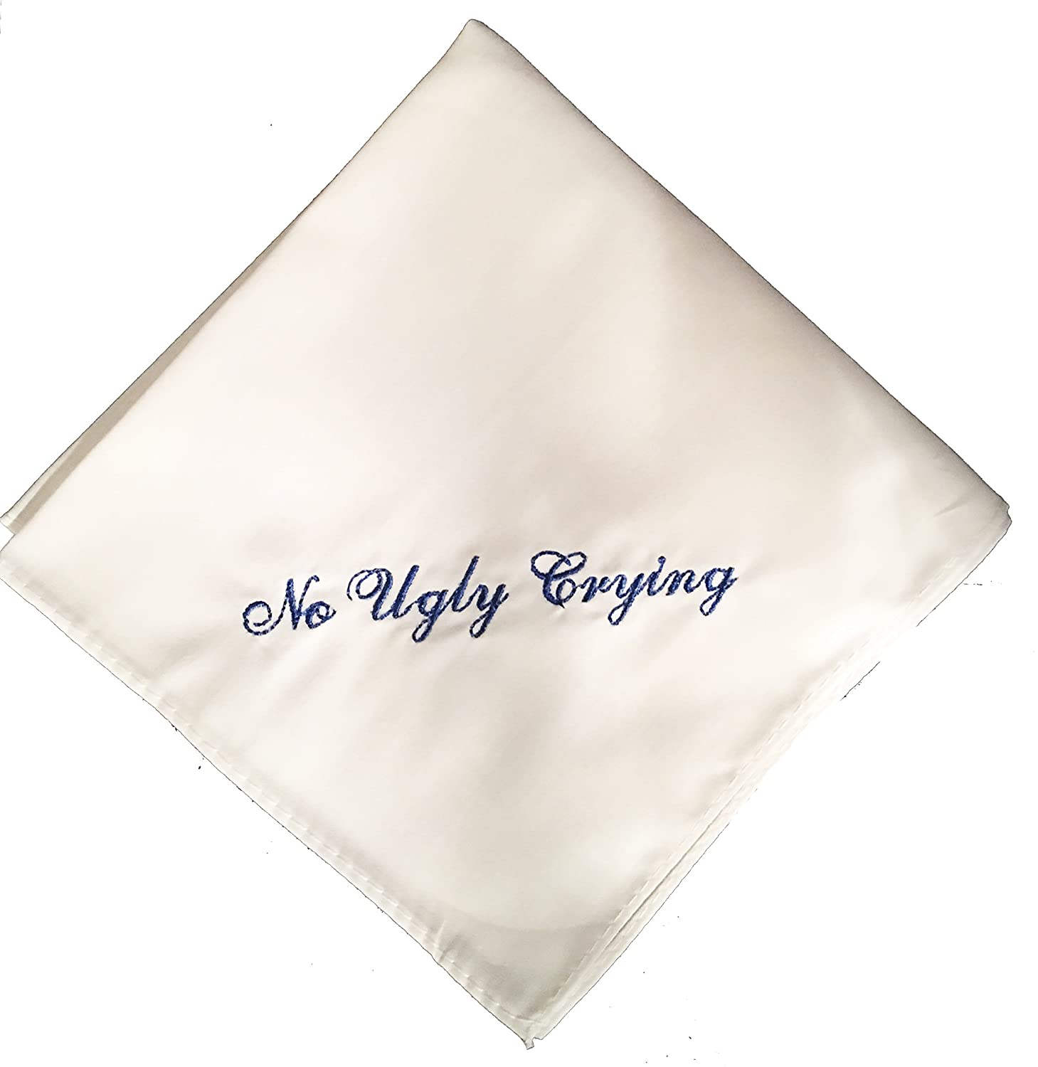 No Ugly Crying Wedding Handkerchief with a straight edge- Your choice of embroidery color- Great Groomsmen gift
