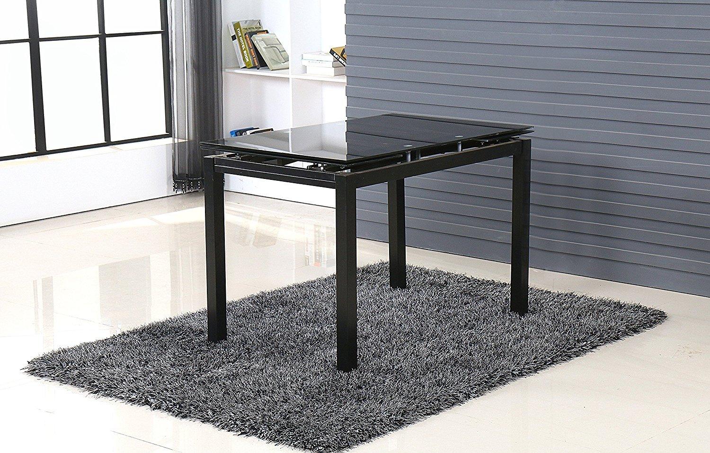 MODERNIQUE® - Mesa de comedor extensible negro 80-130 x 80 cm ...