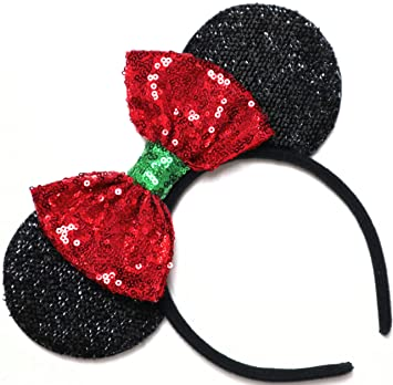 NEW Minnie Mouse Ears Headband Shiny Red Sparkly Sequin Rainbow Christmas Bow