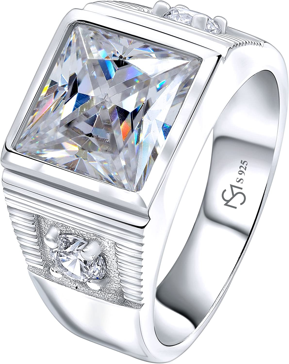 [2-5 Days Delivery] Men's Sterling Silver .925 Ring with 3.5ct White Princess Cut Center CZ Stone and 2 White Cubic Zirconia (CZ) Stones