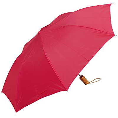 """RainStoppers W001 Auto Open Collapsible Arc Umbrella with Wood Handle, Red, 42"""""""