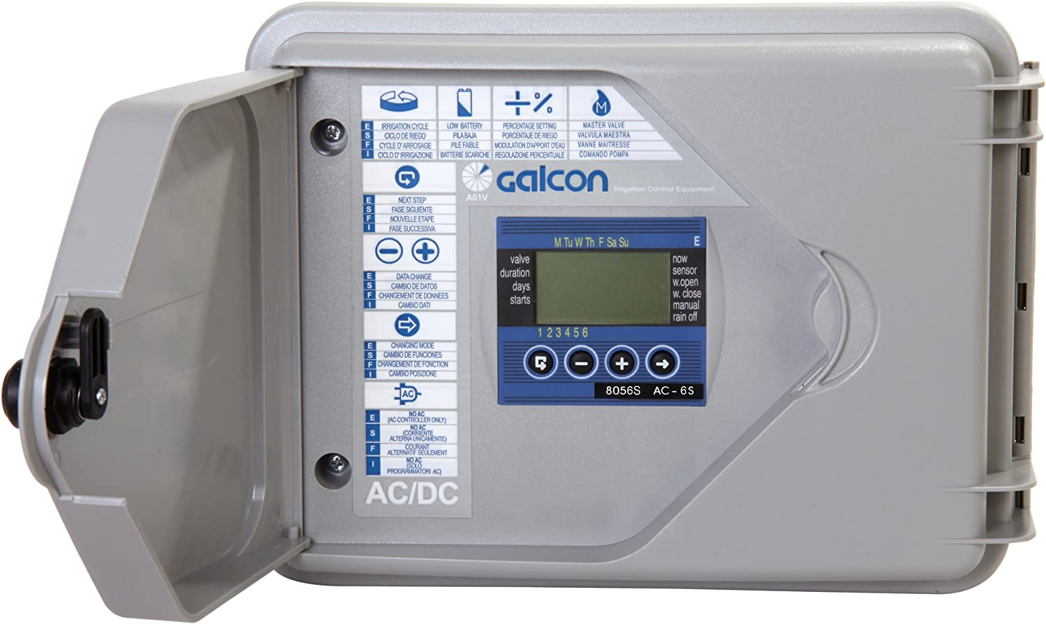 Galcon 8056S AC-6S 6-Station Indoor Irrigation or Outdoor Controller-Seconds Operation