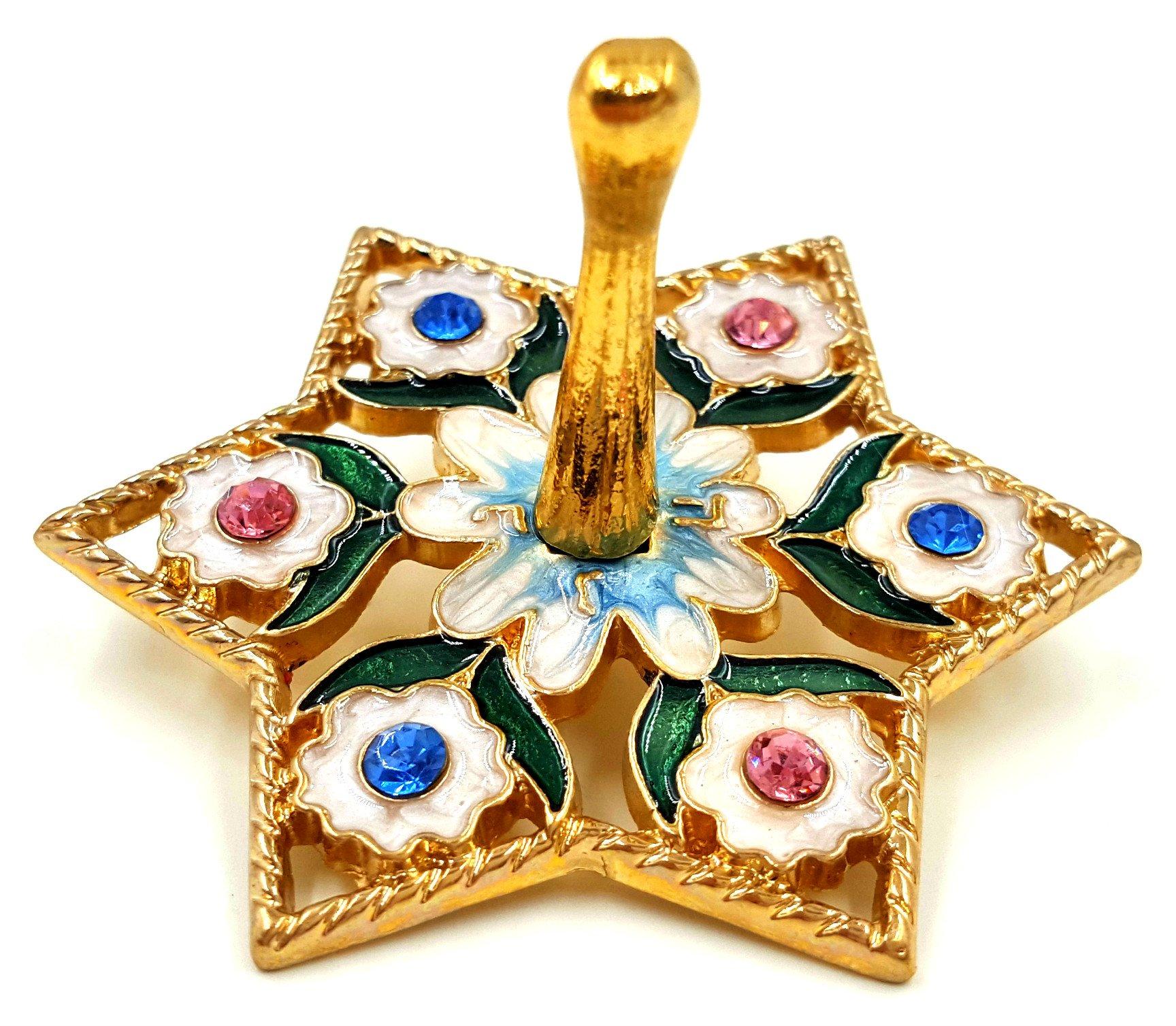 Gold Plated Hanukkah DREIDEL Chanukkah Sevivon With Crystals & Enamel Flowers Spinning Top Game From Israel