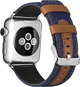 SKYLET Compatible with Apple Watch Bands 44mm 42mm 40mm 38mm Leather Bands, Canvas Fabric Soft Wristbands Compatible with Apple Watch Series 6/5/4/3/2/1/se Men Women Blue