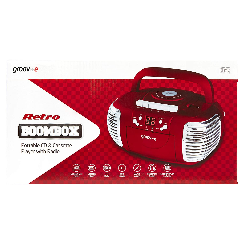 Importado de Reino Unido Red GVPS813RD, Radio Player Groove-e Retro Boombox Portable CD Cassette