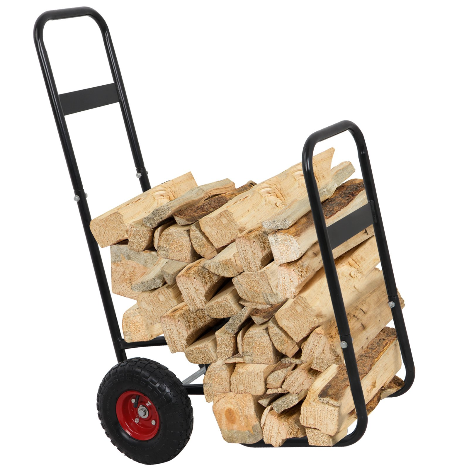LEMY Firewood Log Cart Log Carrier Fireplace Wood Mover Hauler Rack Caddy Dolly Rolling Fire Storage Cart Trolley Black by LEMY