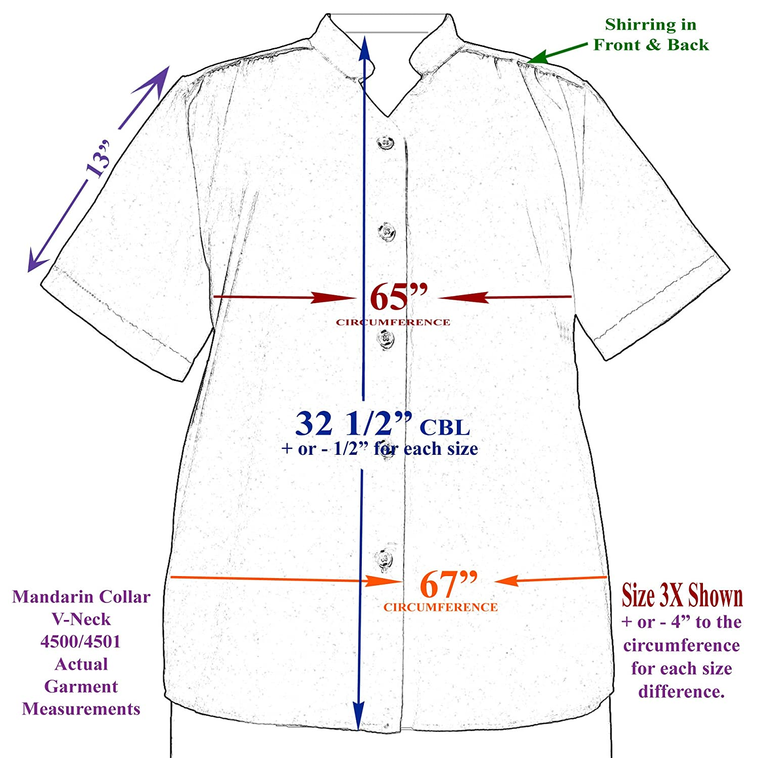 A Personal Touch Womens Plus Size Short Sleeve Mandarin Collar V-Neck Button-Front Blouse With Shirring