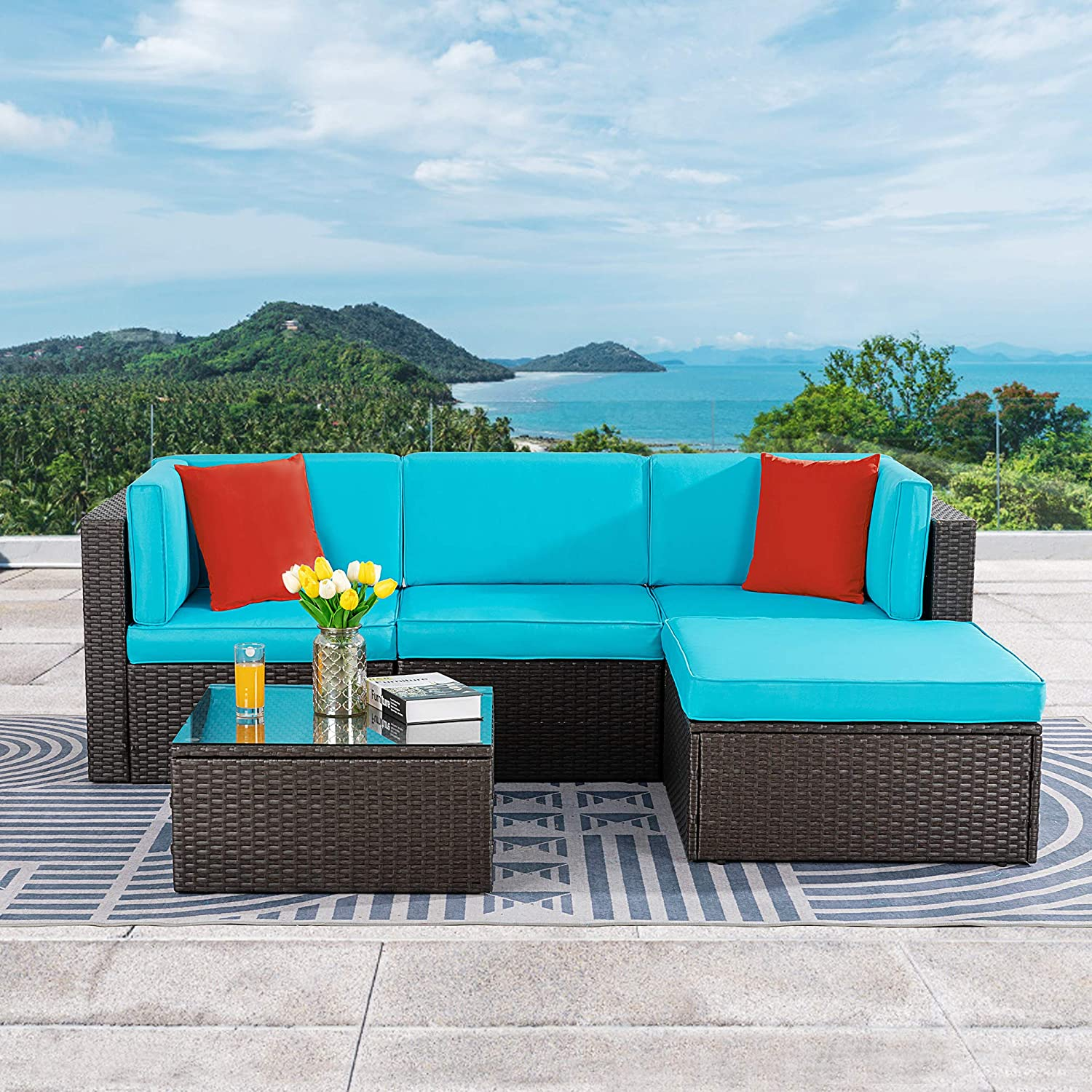 Vongrasig 5 Piece Patio Furniture Sets, All-Weather Brown PE Wicker Outdoor Couch Sectional Patio Set, Small Patio Conversation Set Garden Patio Sofa Set w/Ottoman, Glass Table, Red Pillow, Blue