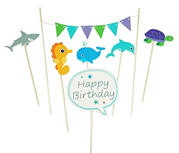 Amazoncom Ocean Cupcake Toppers Cute Animals Shark Sea Horse Whale