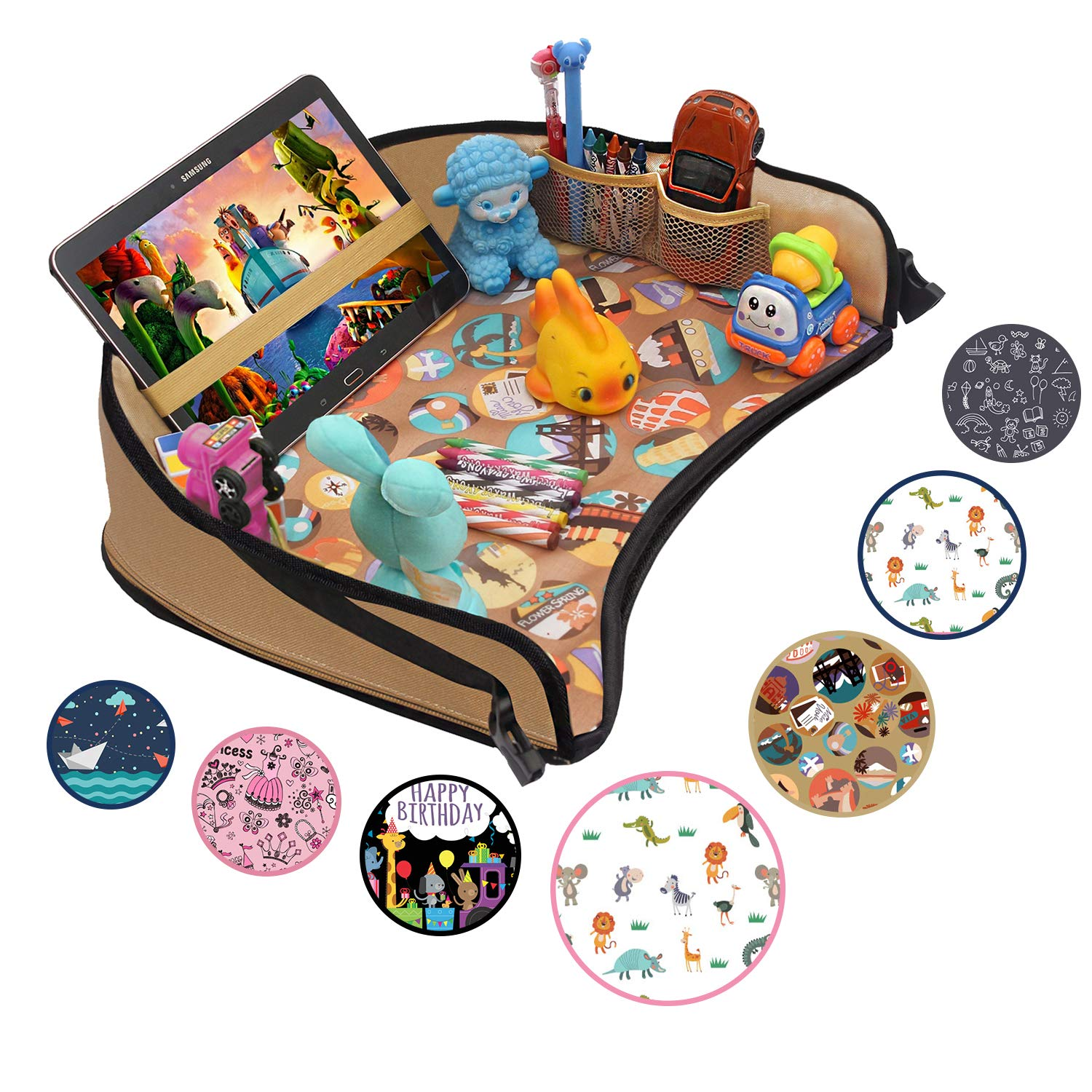 DMoose Kids Travel Activity Tray - Non-Flimsy, Tablet Holder, Strong Buckles, Sturdy Side Walls & Padded Base - Waterproof Snack, Play, Learn & Organize Lap Desk for Car Seats, Strollers & Air Travel by DMoose
