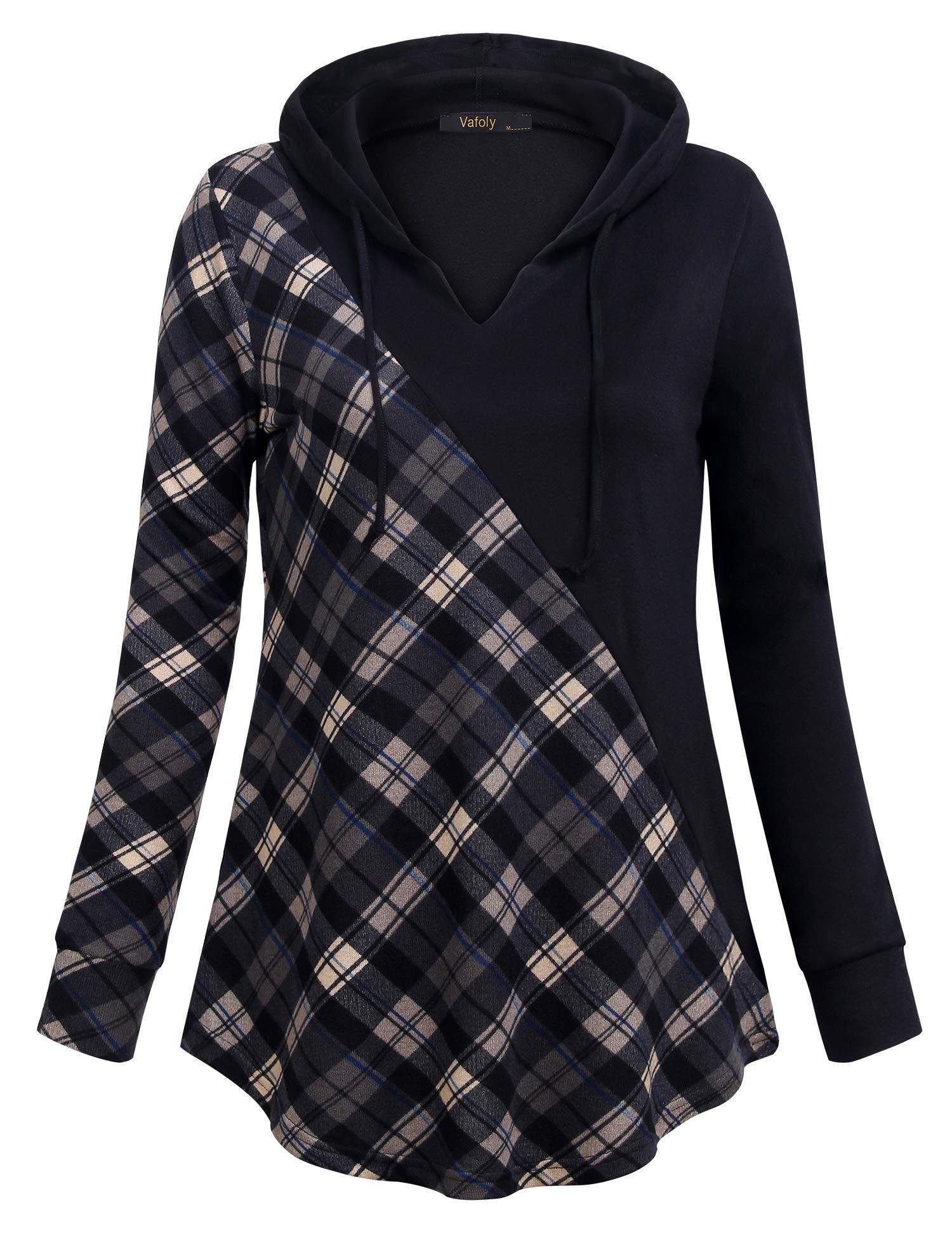Vafoly Lightweight Pullover Women, Warm Tunics for Women Hooded for School, Sweatshirt Contrast Plus Size Plaid Tunic Tops Deep Grey M