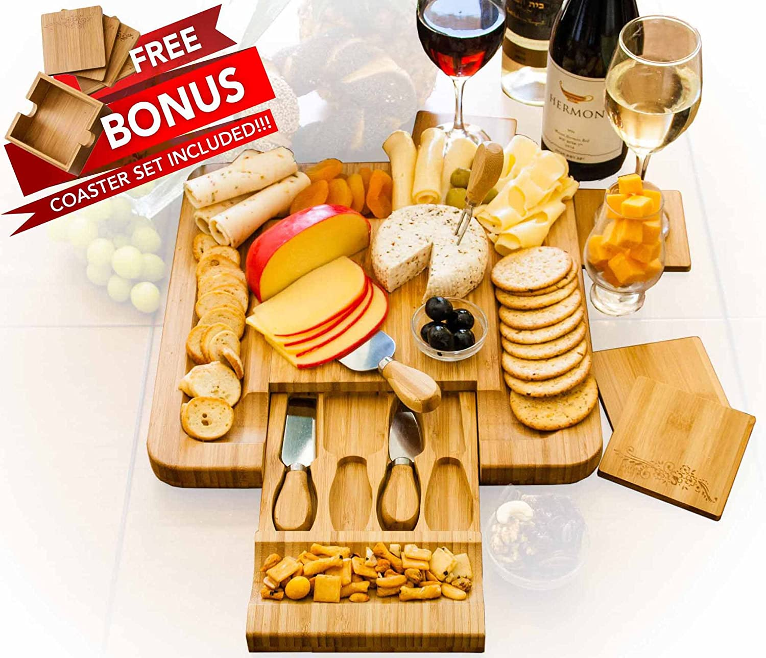Bamboo Cheese Board Set With 4 x Cheese Knives Cutlery in Slide Drawer PLUS FREE Gift - 4 Piece Wine Coaster Set Beautifully Engraved with Stylish Holder LIMITED SUMMER SALE! Sugarman Creations