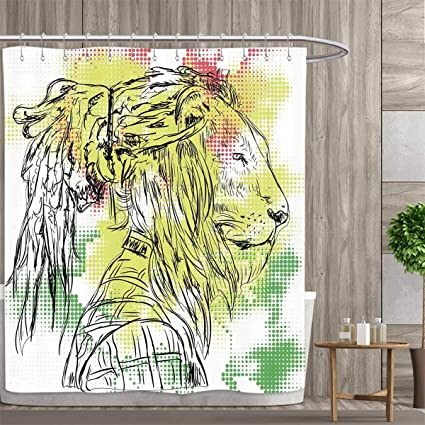 Elegant Rasta Shower Curtains Fabric Extra Long Black And White Sketchy Head Of  Lion On Digital Pixels